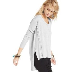 Free People Ribbed Lace Trim High Low Sweater S